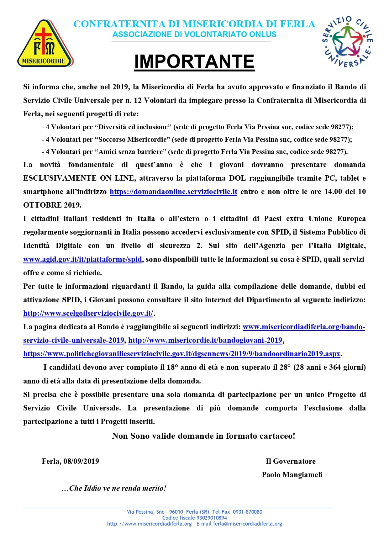 bando servizio civile universale 2019